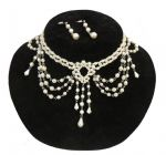 Pearly white Edwardian 1920's Style Charleston Flapper Gatsby Downton Beads Choker Earring Set